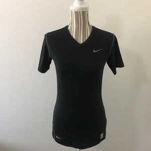 Women's Black Nike Pro V-Neck Athletic Top